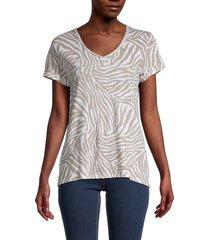chelsea & theodore women's printed v-neck t-shirt - print - size l