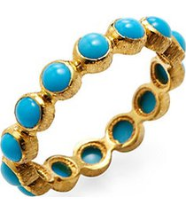 turquoise and 18k yellow gold sleeping beauty eternity band ring
