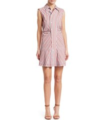ruched sleeveless poplin mini dress
