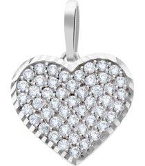 ciondolo cuore in oro bianco e zirconi per donna