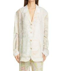 women's marine serre one of a kind mixed print silk lounge shirt, size small - white