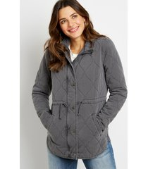 maurices womens quilted cinched waist jacket gray