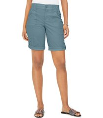 style & co petite cotton bermuda shorts, created for macy's