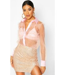 glitter organza mesh frill shirt, pink
