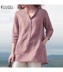 zanzea botones de mujer cuello camisa larga casual tops blusa lisa suelta tallas grandes -rosado