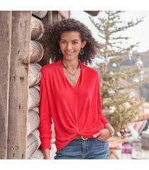 sundance catalog women's knot interested t-shirt in punk red large