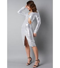 na-kd party deep v-neck cut out midi dress - silver