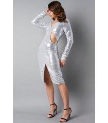 na-kd party deep v-neck cut out midi dress - silver