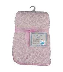 cobertor para bebê peludinho de florzinha 1,50m x 1,00m com cabide petit baby - rosa