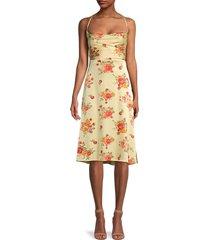 danielle bernstein women's floral tie-back dress - yellow floral - size m