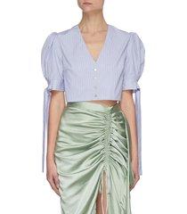 balloon sleeve tie v-neck stripe crop blouse