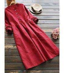 encaje de ganchillo adornado redondo cuello manga larga vestido