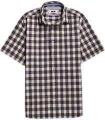 joseph abboud brown plaid short sleeve sport shirt