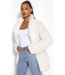 tall oversized faux fur jas, ecru