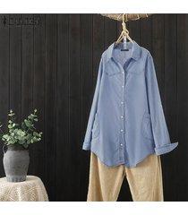 zanzea larga para mujer de la manga del dril de algodón del botón ocasional del bolsillo holgado tops camisas de la blusa -azul claro