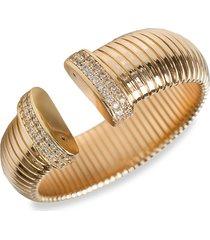 cz by kenneth jay lane women's trend 14k goldplated & crystal coil cuff bracelet