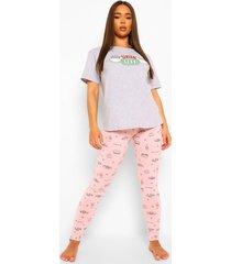 friends central perk pyjama set met leggings, pink