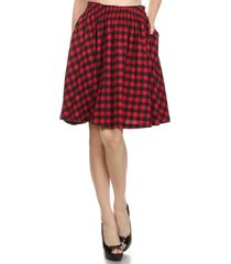 red check cotton flared full skirt - work or play - vintage inspired - hey viv