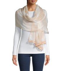 vince camuto women's chevron tie-dyed tassel wrap scarf - sand