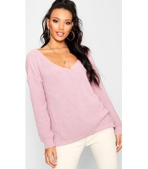 oversized v neck sweater, mauve