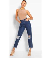 distressed boyfriend jeans met hoge taille, middenblauw