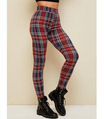 yoins leggings de cintura alta de cuadros rojos