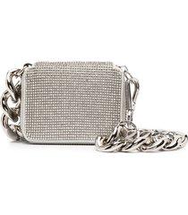 kara crystal mesh bike wallet - silver