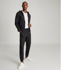 reiss bennett - pin stripe zip through hoodie in charcoal, mens, size xxl