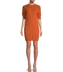 70/21 women's balloon sleeve knitted dress - orange - size m