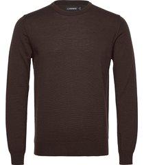 lyle merino crew neck sweater gebreide trui met ronde kraag bruin j. lindeberg