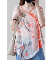 camicetta asimmetrica con bottoni a rana a mezza manica stampata a fiori vintage per donna