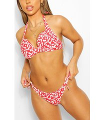 mix & match leopard tie side bikini brief, red