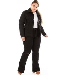 jaqueta jeans new stretch com puídos plus size feminina