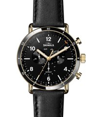 men's shinola the canfield sport chrongraph leather strap watch, 45mm