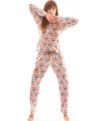 pijama thais gusmão longo com corda não perturbe colorido