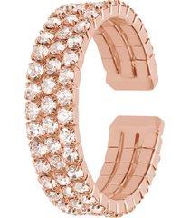 anello a fascia regolabile rosato e strass multifilo per donna