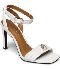 tommy padded high heel sandal sandal med klack vit tommy hilfiger