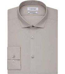 calvin klein infinite non-iron taupe slim fit dress shirt
