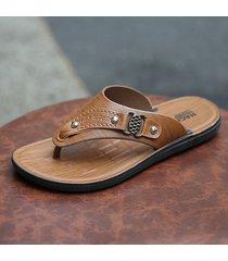 infradito casual da uomo, elegante, con dita, in pelle, sandali da spiaggia