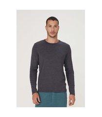 camiseta masculina manga longa em malha de algodão
