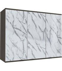 armário aéreo cozinha 120 cm nox 3 portas com vidro pedra/onix/steel - kappesberg