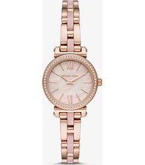mk orologio sofiepetite tonalità oro rosa con cinturino in acetato - oro rosa (oro rosa) - michael kors