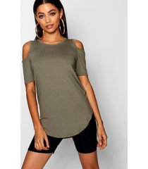 basic cold shoulder curved hem t-shirt, khaki