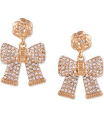 guess gold-tone crystal flower bow drop earrings