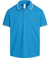 camiseta tipo polo azul turquesa puntazul