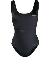 natasha zinko supplex logo print swimsuit - black