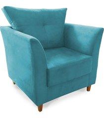 poltrona decorativa isis pés de madeira suede azul turquesa - ds móveis