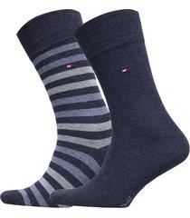 th men duo stripe sock 2p underwear socks regular socks blå tommy hilfiger