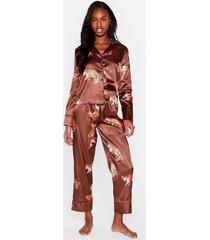 womens drive me wild tiger pajama pants set - chocolate
