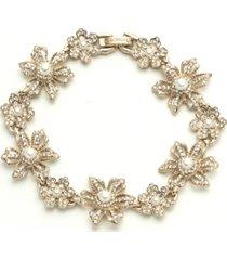 marchesa gold-tone crystal & imitation pearl flower flex bracelet
